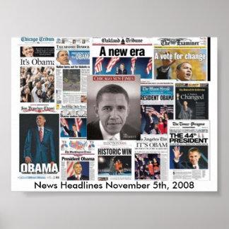 Páginas delanteras del periódico el 5 de noviembre póster