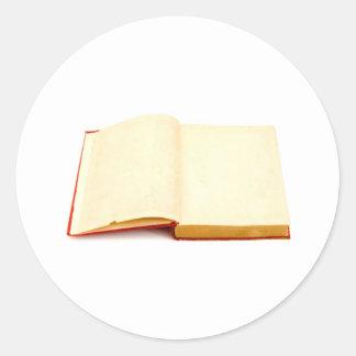 Páginas en blanco de un libro viejo pegatinas redondas
