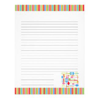 Páginas en blanco retras de la receta de los utens membrete a diseño