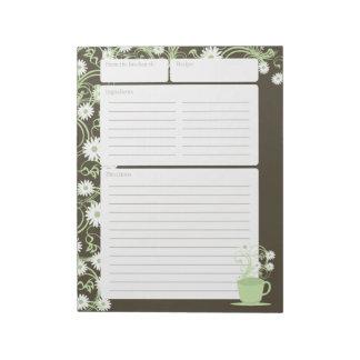 Páginas florales de la receta del verde de la blocs de notas