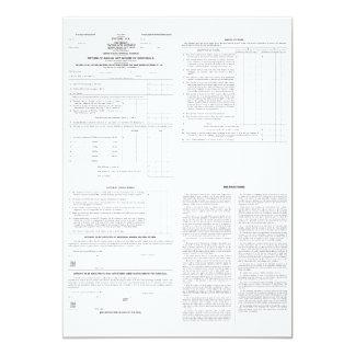 Páginas originales de la forma 1040 del impuesto invitación 12,7 x 17,8 cm