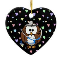 paging Doc Owl Ceramic Ornament