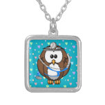 paging Doc Owl Silver Plated Necklace