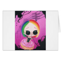 rainbow, sugar, fueled, cute, big, eyes, donut, sweet, coallus, michael, banks, sprinkles, Card with custom graphic design