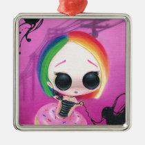 rainbow, sugar, fueled, cute, big, eyes, donut, sweet, coallus, michael, banks, sprinkles, Ornament with custom graphic design