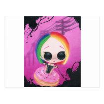 rainbow, sugar, fueled, cute, big, eyes, donut, sweet, coallus, michael, banks, sprinkles, Postcard with custom graphic design
