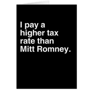 Pago a imposición fiscal más alta que Mitt Romney  Tarjetas