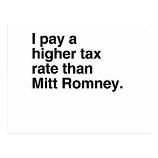 Pago a imposición fiscal más alta que Mitt Romney  Tarjetas Postales