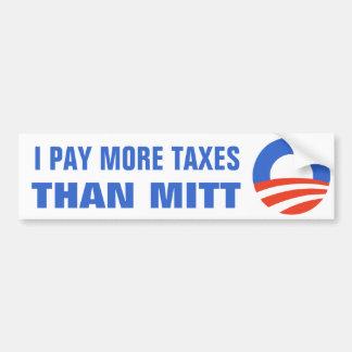 Pago a más impuestos que el mitón Obama el 2012 47 Pegatina Para Auto