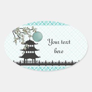 Pagoda and blossom sticker