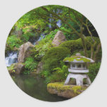 Pagoda and Pond in the Japanese Garden Classic Round Sticker