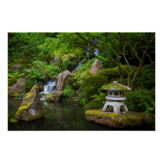 Pagoda and Pond in the Japanese Garden Poster