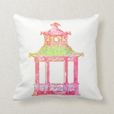 Beach Themed Pagoda Asian Chinese Watercolor Chinoiserie Pillow
