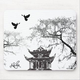 Pagoda china, cojín de ratón de pintura de la palo alfombrilla de raton