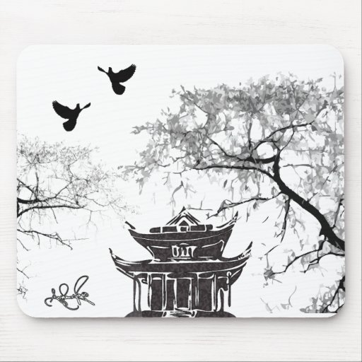 Pagoda china, cojín de ratón de pintura de la palo tapete de ratón