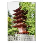 Pagoda de madera budista tarjeton
