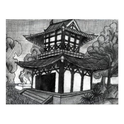 Pagoda del bosquejo del lápiz tarjeta postal