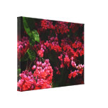 Pagoda Flowers Colorful Red and Pink Floral Canvas Print