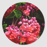 Pagoda Flowers Colorful Red and Pink Floral Classic Round Sticker