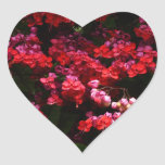 Pagoda Flowers Colorful Red and Pink Floral Heart Sticker