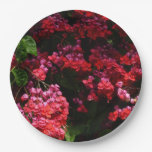 Pagoda Flowers Colorful Red and Pink Floral Paper Plate