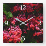 Pagoda Flowers Colorful Red and Pink Floral Square Wall Clock