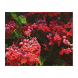 Pagoda Flowers Colorful Red and Pink Floral Wood Wall Art