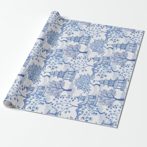 Pagoda Forest in Blue on White Wrapping Paper