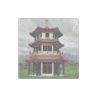 Pagoda in nature - 3D render Stone Magnet