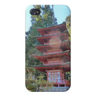 Pagoda japonesa del jardín de té iPhone 4 fundas