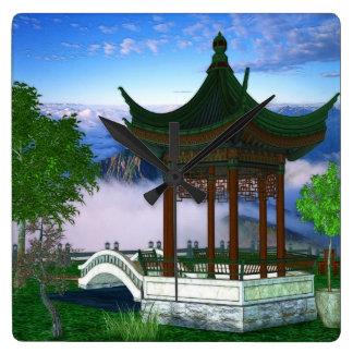 Pagoda Nature Landscape Fantasy Art Square Wall Clock