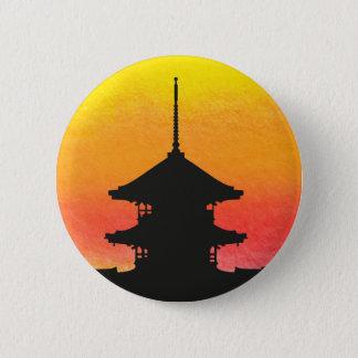 Pagoda silhouette colorful artistic design button