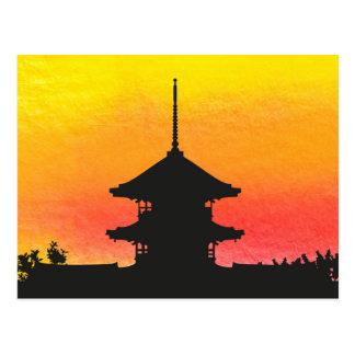 Pagoda silhouette colorful artistic design postcard
