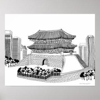 Pagoda y árboles posters