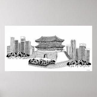 Pagoda y árboles poster