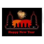Pagodas chinas felices del año de VietnameseNew Tarjeta De Felicitación