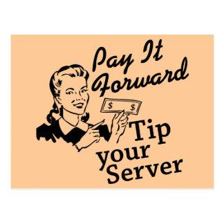 Pagúelo adelante, incline su servidor tarjeta postal
