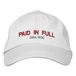 PAID IN FULL red Embroidered Baseball Hat
