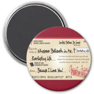Paid in Full Saved by Jesus Check Christian 3 Inch Round Magnet