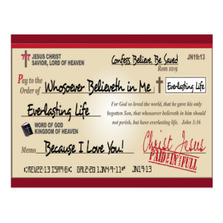 Paid in Full Saved by Jesus Check Christian Postcard