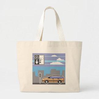 Paid Parking Meter car Vector Large Tote Bag