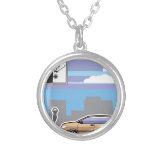 Paid Parking Meter car Vector Silver Plated Necklace