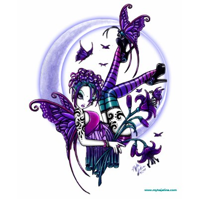 Paige Butterfly Moon Lilly Tattooed Faery Babydoll Tshirt by mykajelina