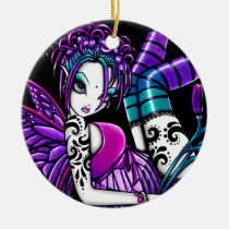 paige, fairy, gothic, flower, tattoo, faery, faerie, fantasy, butterfly, art, myka, jelina, mika, big, eyed, faeries, Ornament with custom graphic design