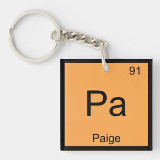 Paige Name Chemistry Element Periodic Table Keychain