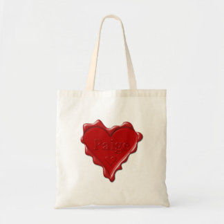 Paige. Red heart wax seal with name Paige Tote Bag