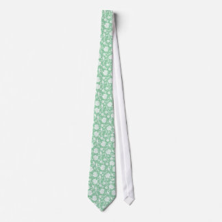 Pail Green And White Floral Damasks Pattern 2 Neck Tie