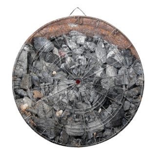 Pail of charcoal dartboards
