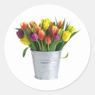 pail of tulips classic round sticker