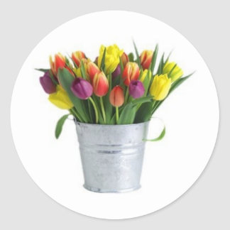 pail of tulips sticker